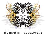 decorative snakes frame colored ... | Shutterstock .eps vector #1898299171