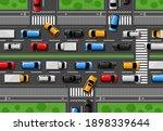 traffic jam vector city freeway ... | Shutterstock .eps vector #1898339644