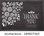 thank you card with floral... | Shutterstock .eps vector #189837365
