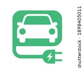 electric car with e plug green... | Shutterstock .eps vector #1898405011
