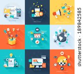 Vector collection of flat and colorful business and finance concepts with long shadow. Design elements for web and mobile applications. | Shutterstock vector #189842585