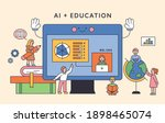 children are studying around a... | Shutterstock .eps vector #1898465074