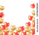 banner with pink and gold heart ... | Shutterstock .eps vector #1898608684