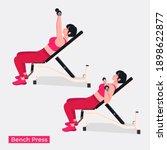bench press exercise  women... | Shutterstock .eps vector #1898622877