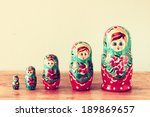 Set Of Matrioshka Dolls. Retro...