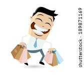 funny businessman with shopping ... | Shutterstock .eps vector #189871169