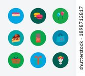 shop icons set. macaroons and...