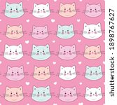 seamless pattern. cute kittens... | Shutterstock .eps vector #1898767627