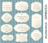 vintage frame set on striped... | Shutterstock .eps vector #189882521