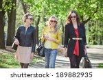 three young girls walking in...   Shutterstock . vector #189882935