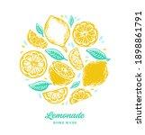 hand drawn lemon  lemon slice ... | Shutterstock .eps vector #1898861791