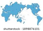 world map centered on asia... | Shutterstock .eps vector #1898876101