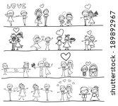 hand drawing cartoon happy... | Shutterstock .eps vector #189892967