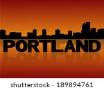 portland skyline reflected with ... | Shutterstock .eps vector #189894761