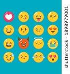 set kawaii cute faces manga...   Shutterstock .eps vector #1898979001
