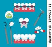 teeth  dentistry medical flat...   Shutterstock .eps vector #1899019411