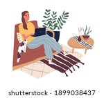 freelancer sitting with laptop... | Shutterstock .eps vector #1899038437