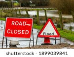 Close Up Of Road Closed And...