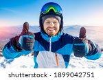 Happy Skier Man With Ski...