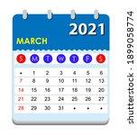 2021 calendar. wall calendar... | Shutterstock .eps vector #1899058774