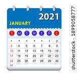 2021 calendar. wall calendar... | Shutterstock .eps vector #1899058777