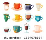 various cup with tea  coffee... | Shutterstock .eps vector #1899078994
