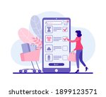 woman buys clothes in mobile... | Shutterstock .eps vector #1899123571