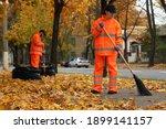 Street Cleaners Sweeping Fallen ...