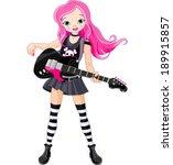 Cool Rock Star Girl Playing...