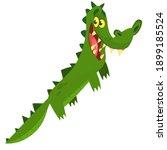 funny green crocodile cartoon... | Shutterstock .eps vector #1899185524