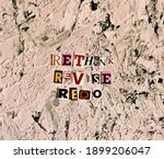 Small photo of rethink, revise, redo words from cut paper letters. noise effect
