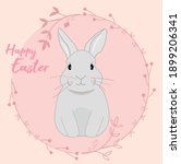Sweet Easter Bunny With Flower...