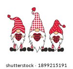 three valentines gnomes with... | Shutterstock .eps vector #1899215191