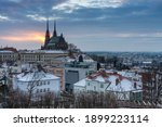 Aerial view of the The Cathedral of Saints Peter and Paul in Brno in Czech Republic. Winter sunrise time . View from Spilberk Castle