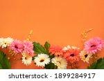 Flowers On A Orange Background. ...