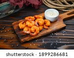 Small photo of Fried shrimps with white souse