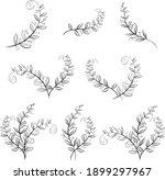 hand drawn floral leaf... | Shutterstock .eps vector #1899297967