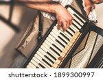 Accordionist Plays Accordion....