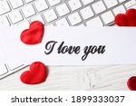Card With Text I Love You  Red...
