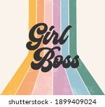 girl boss retro striped rainbow ... | Shutterstock . vector #1899409024