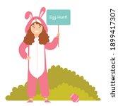 Brunette Girl On Easter Egg...