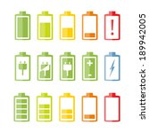 Battery icons set on white background, flat design, vector eps10 illustration