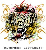 flaming tiger roar colorful... | Shutterstock .eps vector #1899438154