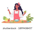 a young woman cooking healthy... | Shutterstock .eps vector #1899438457