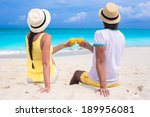 happy couple with two glasses... | Shutterstock . vector #189956081