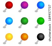 round pushpin set | Shutterstock .eps vector #189957737