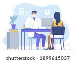 doctor in mask consulting...   Shutterstock .eps vector #1899615037
