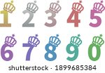 0 9 of the number with the crown | Shutterstock .eps vector #1899685384