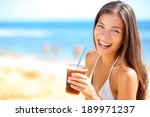 Beach Woman Drinking Cold Drink ...