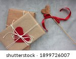 Gift Box With Heart And Heart...